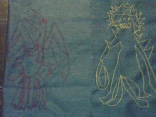 怪獣の刺繍