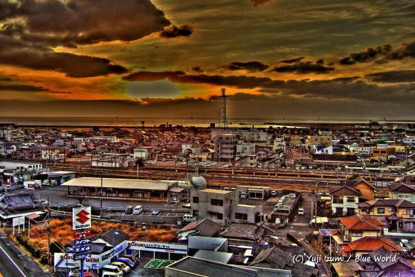 亀の井ホテル 熊本県荒尾店からの夕日