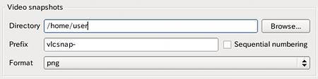 Ubuntu VLC スナップショットの保存先