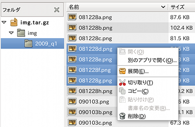Ubuntu 書庫マネージャ ファイルを選んで解凍