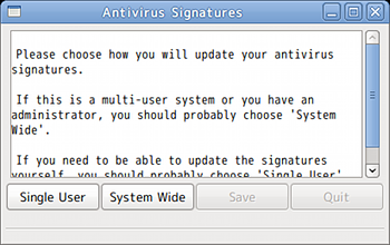 ClamTk ウイルススキャン セットアップ