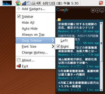Ubuntuガジェット Googleガジェット オプション設定