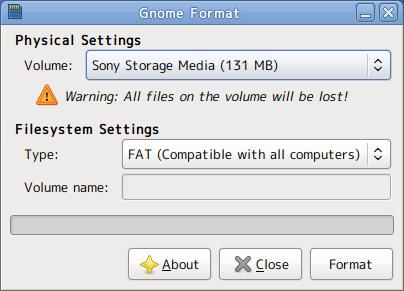 Ubuntu Gnome Format フォーマット USBメモリ