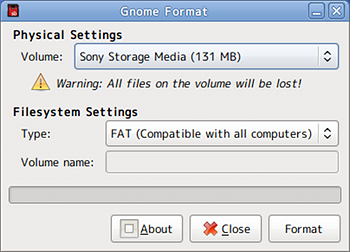 Ubuntu Gnome Format フォーマット USBメモリ SDカード