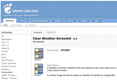 Ubuntuガジェット Screenlets ClearWeather 天気予報ガジェット gnomelook