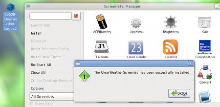 Ubuntuガジェット Screenlets ClearWeather 天気予報ガジェット インストール
