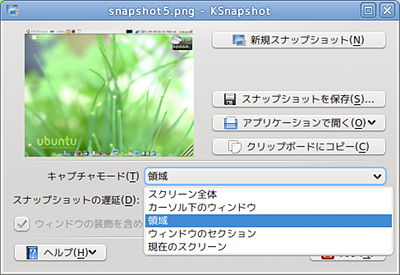 Ubuntu KSnapshot 画面キャプチャ キャプチャモード