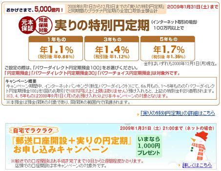 新生銀行の特別円定期