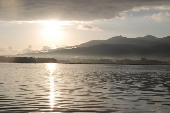 加茂湖の夕日