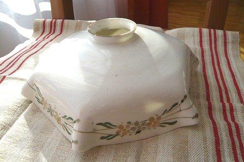ランプシェード ミルク花柄