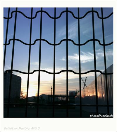 フェンス越しの夕暮れ