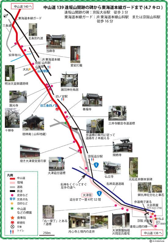 逢坂山関跡の碑から三条通東海道本線ガードまで