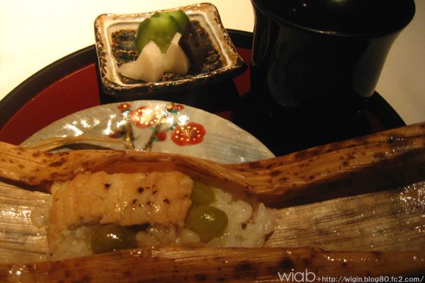 〆のご飯は銀杏とアナゴのチマキみたいな★ これ美味いよ!! お米はもち米でした。