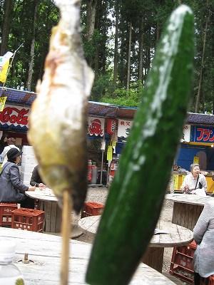 鮎の塩焼きと胡瓜の浅漬け