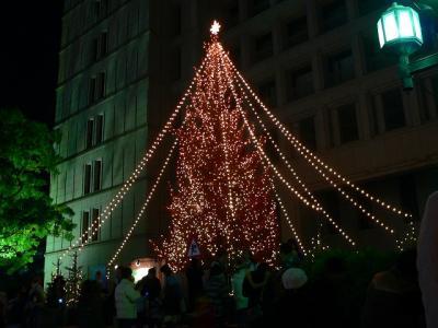 写真キャプション=大阪の市役所前に設置されたクリスマスツリー