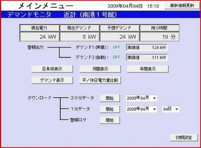 ㈱近計システムのデマンドモニタのPC管理画面