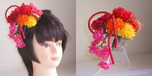 レッドダリアとマム(菊)の七五三髪飾り