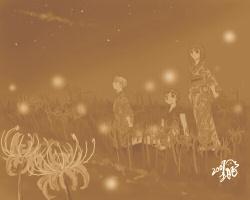 灯籠花と蛍