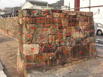 八幡宮神社~石垣解体中